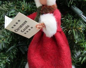 Christmas Caroler Ornament, Clothespin, Felt