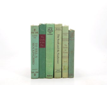 Spring Green Decorative Books,  Rustic Old Book Set, Antique Book Decor, Shabby Chic Book COllection, Interior Design, WEdding decoration