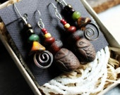Owl Totem and Sacred Spiral Earring and Necklace Set - 2 Pairs of Earrings and White Seed Bead Necklace