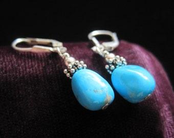 Sterling Turquoise Earrings Vintage Blue Oval Stone Silver 925 Southwestern Dangle
