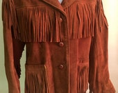 Women's Vintage Fringed Suede Leather Jacket, Berman Buckskin, Size 10