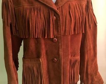 Women's Vintage Fringed Suede Leather Jacket, Berman Buckskin, Size 10
