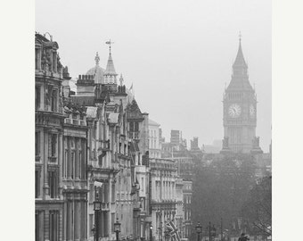 London Photography Print - Grey London, Big Ben, Fog, Black and White
