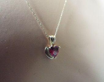 "10k gold ruby heart pendant necklace 20"" chain"