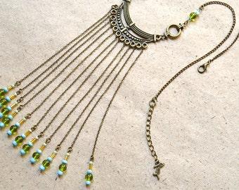 Necklace - Long Fringes - Boho Style - Unique - Handmade