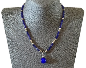 Blue Shimmery Necklace Glass Seed Bead Round Pendant Necklace