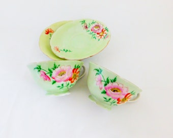 Trimont Tea Cups and Saucers, Made in Japan, Green and Pink Tea Cups, Occupied Japan 1945-1952