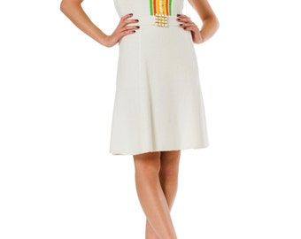 1960s St John Knit White Short Sleeve Pearl Button Buckle Belted Shift Dress SIZE: S, 4