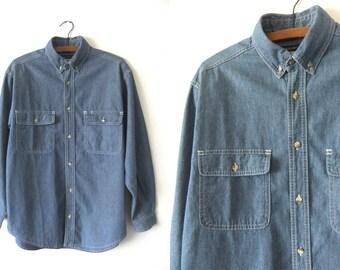 Chambray Denim Oxford Shirt - Classic Minimalist Jean Button Down 90s Long Sleeve Shirt - Mens Medium