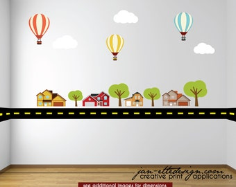 Kids Wall Decal,Road Wall Border, Hot Air Balloons,Trees and Houses,Removable and Repositionable Wall Decals