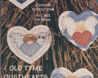 Appliqued and Quilted Heart Ornaments Patterns - Old Tyme Quilthearts - Four Angelheart Designs - Finders Keepers - Pattern No 213