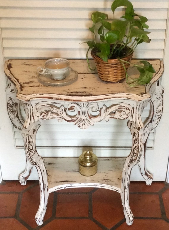 Foyer Table Distressed : White distressed foyer bedside table vintage s