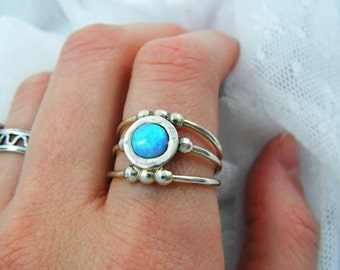 Sterling silver ring. Opal ring. Opal silver ring. spheres opal ring. Wide opal ring. Wide silver ring. Open ring (sr-9949-1480)