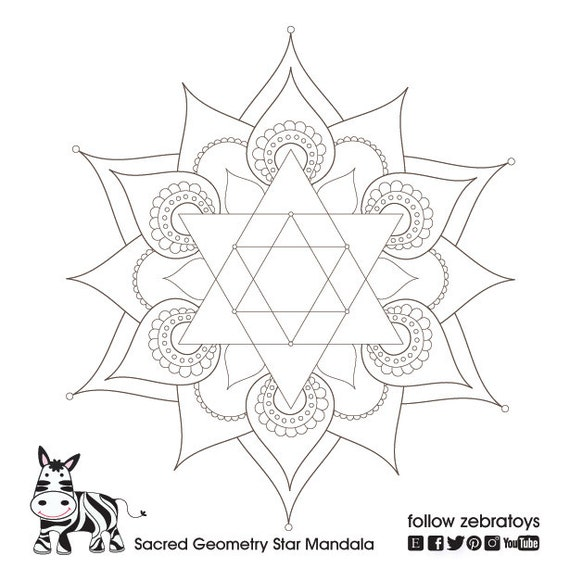 Items similar to star of david sacred geometry symbol for Star of david coloring page