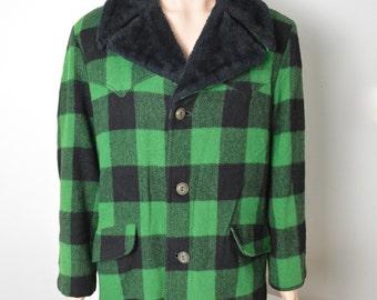 Vintage 1960s 60s Plaid Hunting Jacket Chore Coat Green and Black Size Large