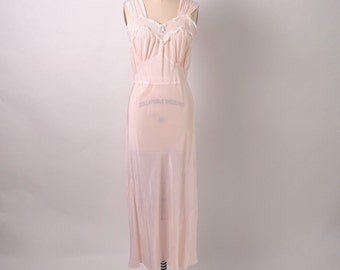 Vintage 1940s 40s Rayon Nightgown Bias Cut Nighty Lingerie Size Large Pinup Boudoir Sweetheart Neckline