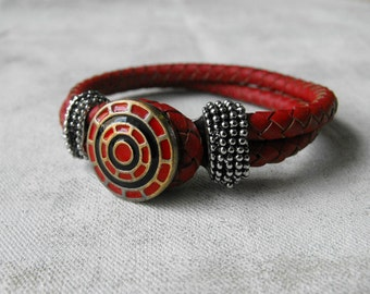 Red Leather Wrap Bracelet with Metal Button Closure - Interchangeable Snap Accent - Modern Jewelry by ElleBelleArt