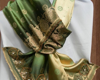 Green gold ombre reversible satin sari hand beaded shawl