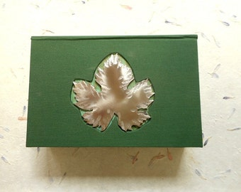 Decorative hand-made box for your jewelry or heirlooms - Green with stainless steel Grape Leaf -  Large.  Jewelry box, Desk, Wedding.