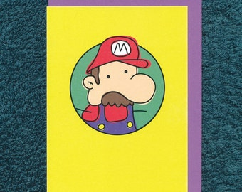 Mario Card Birthday Blank Nintendo Greeting Child Derpy Video Game