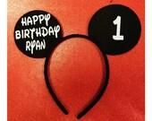 Personalized Mickey Mouse Headband, Mickey Mouse Headbands, Minnie Mouse Ears,  Monogram Mickey Ears