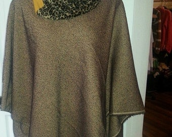 Poncho leopard print cowel neck one size boho woodland hippy trendy teen lady