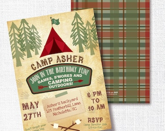 CAMP OUT SLEEPOVER camping kids birthday party invitation rustic woodland great outdoors campfile s'mores boy's invite plaid lumberjack