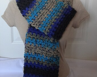 Sale 25% Off - Crochet Extra Long and Chunky Winter Scarf in Navy Blue, Black, Teal Beige and Gray - Ready to Ship