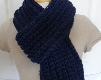 Sale 25% Off - Crochet Chunky and Long Ribbed Scarf in Navy Blue - Ready to Ship