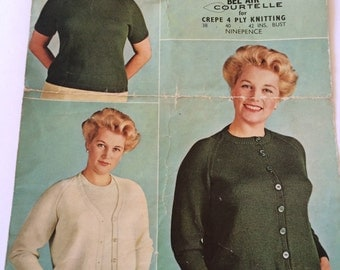 Lister N1722 English vintage knitting pattern twin set plus size