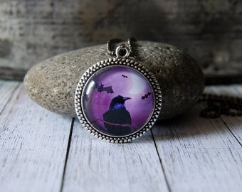 """1"""" Round Glass Pendant Necklace or Key Chain - Raven on Purple Background"""