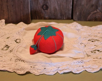 Pincushion Red Tomato Strawberry Sewing Supplies Vintage 1980s 80s (B)