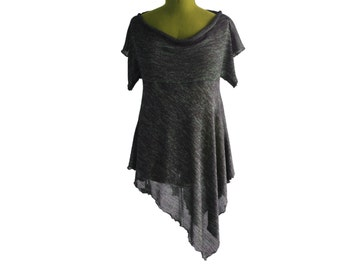 Womens  tunic top, dress, unique design, assymetrical, olive and black knit