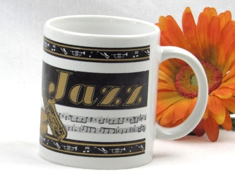 Gold and Black with Musical Staff Jazz Mug - Chicago Jazz - Music Notes - Instruments Cool Coffee Cup - Vintage Kitchen - Man Cave Decor