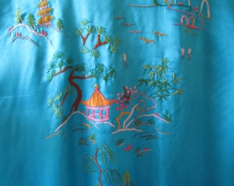 Vintage 1960s SILK ASIAN ROBE Hand Embroidered Teal Blue