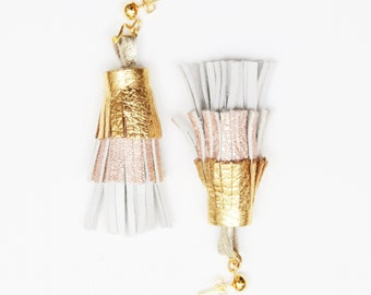 PINEAPPLE 49 / Layered natural leather statement tassel earrings - Ready to ship
