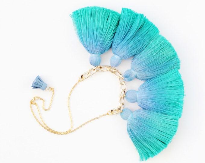 SALE /Five tassel necklace-cotton tassel jewelry-ombre tassel necklace-tassel -tie dyed hand colored ombre-teal blue gold metal/WAVES 3