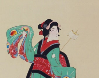 Vintage Japanese Fine Art Wall Hanging Scroll Painting Bijinga Image of beautiful woman in kimono Kakejiku – 1607033