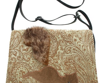 SALE!! Squirrel on paisley, Messenger bag