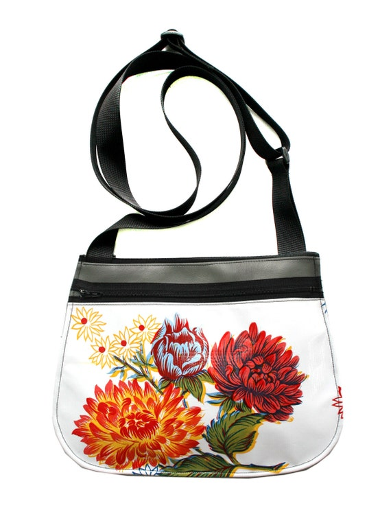 white, floral, oil cloth, grey vinyl, cross body, vegan leather, zipper top