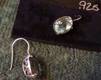 Sterling Silver Aquamarine  Basket Earrings...Elegant Beauties