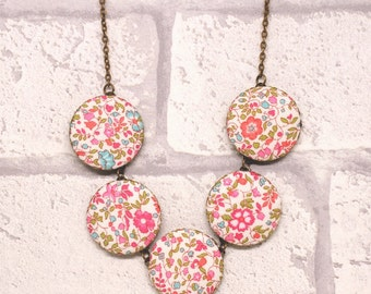 Liberty of London Katie and Millie Five Button Fabric Necklace