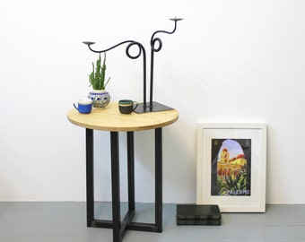 Industrial Steel and Ply Side Table