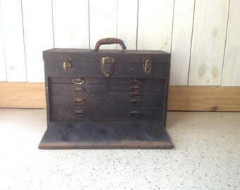 metal tool box, metal tool chest, industrial tool box with cover, tool box with drawers
