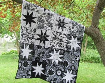 Black and White Baby Quilt, stars baby girl modern