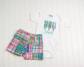 Baby Boy Madras Plaid Shorts Outfit - Toddler Boy Clothes - Madras Shorts - Madras Outfit - Popsicle Shirt - Boys First Birthday Outfit