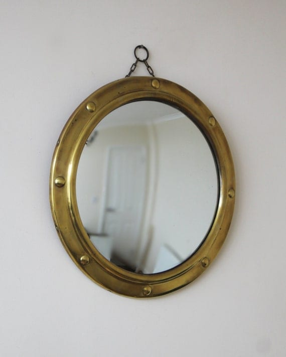 Vintage convex mirror vintage brass porthole or federal for Porthole style mirror
