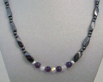 Magnetic Hematite Necklace with Amethyst and Swarovski Crystal