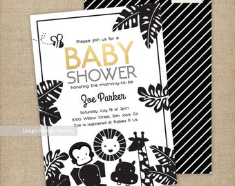 Jungle Animals Baby Shower Invitation | Printable or Printed