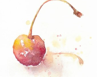 Fruit, fruit print, art, watercolor painting, watercolor art print, Watercolor, Yellow & red cherry, original watercolor, giclee print